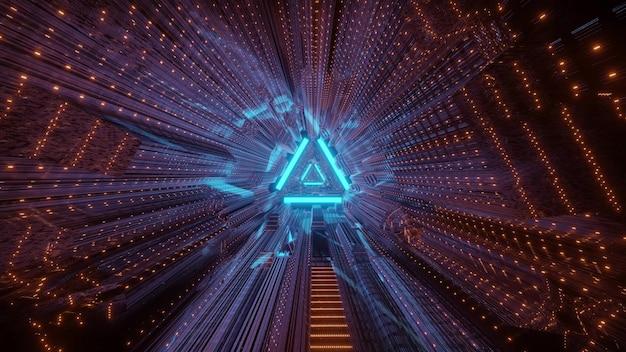 삼각형 배경과 왜곡 된 밝은 네온 조명이있는 기하학적 터널