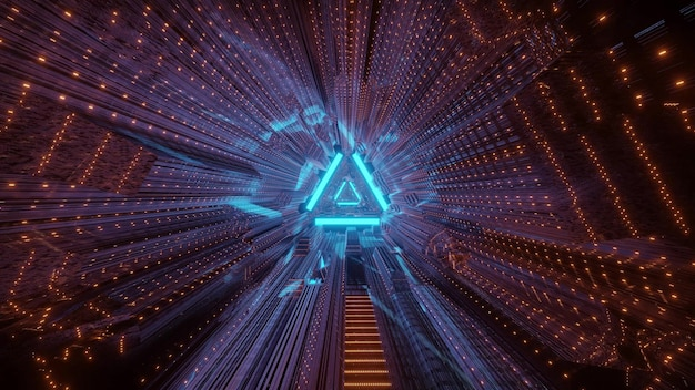 Geometric tunnel with triangle background and distorted bright neon illumination