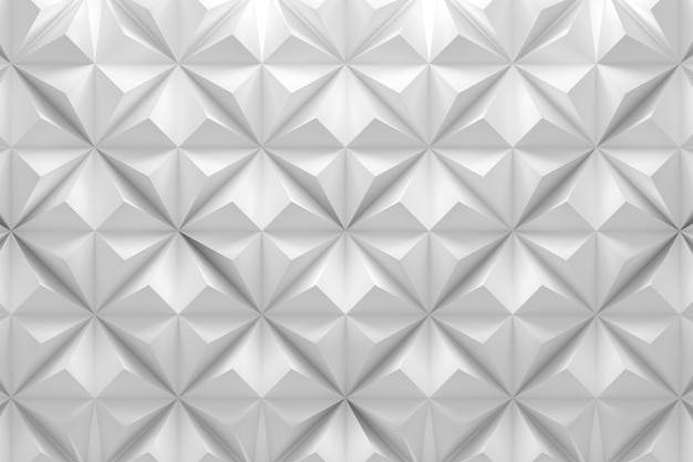 Geometric white pattern with rhombus pyramid triangle shapes