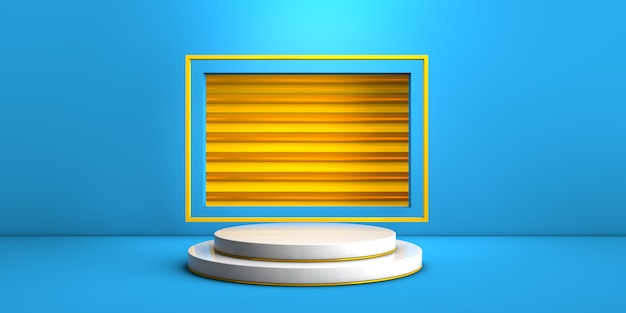 Geometric white stage on blue and yellow background for product concept 3d rendering
