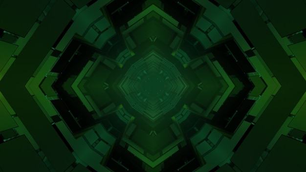 Geometrical 3d illustration of green symmetrical cells and squares creating abstract dark background