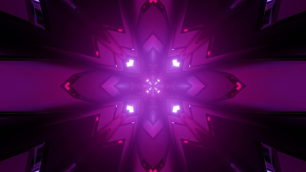 Geometrical 3d illustration of purple rhombus figures with curved sides forming abstract symmetrical mandala pattern Premium Photo