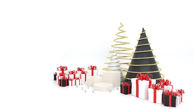 Geometrical-shaped pedestal on the white space with white gift box