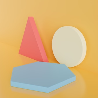 Geometrical shapes yellow on blue background.3d rendering