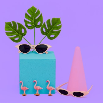 Geometry composition fashion accessories sunglasses. beach tropical summer vibes