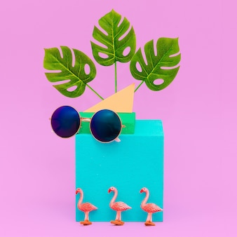 Geometry composition stylish accessories sunglasses. beach tropical summer vibes