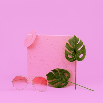 Geometry composition stylish accessories sunglasses. beach tropical vibes