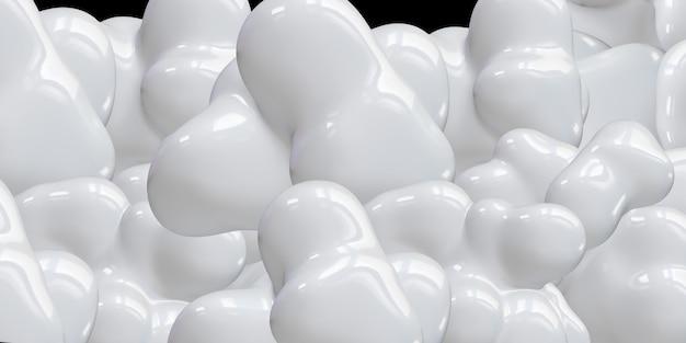 ジオメトリフリーフォーム抽象的な液体白い光沢のある3dイラスト