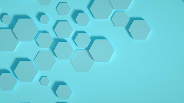 ジオメトリの六角形の背景。 3dイラスト、3dレンダリング。