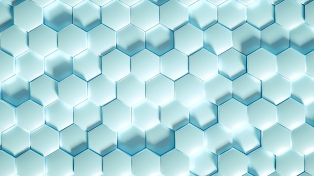 Geometry hexagon background in 3d illustration