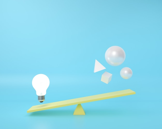 Geometry shape is on a balance board with lightbulb floating on a blue .