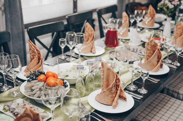 Georgeous wedding table setting. table set for an event party