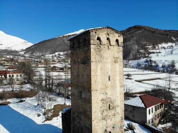 Грузия регион сванети горный город местиа сванские башни