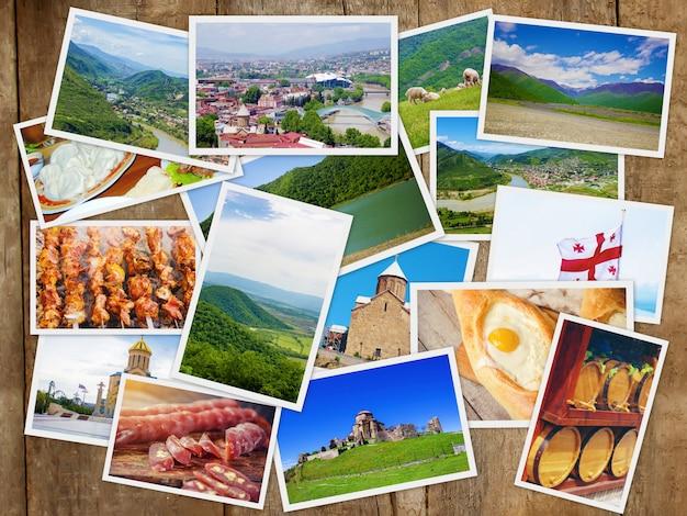 Georgia tbilisiをコラージュします。セレクティブフォーカス自然の街。