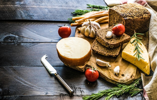 Georgian cheese on dark wooden board