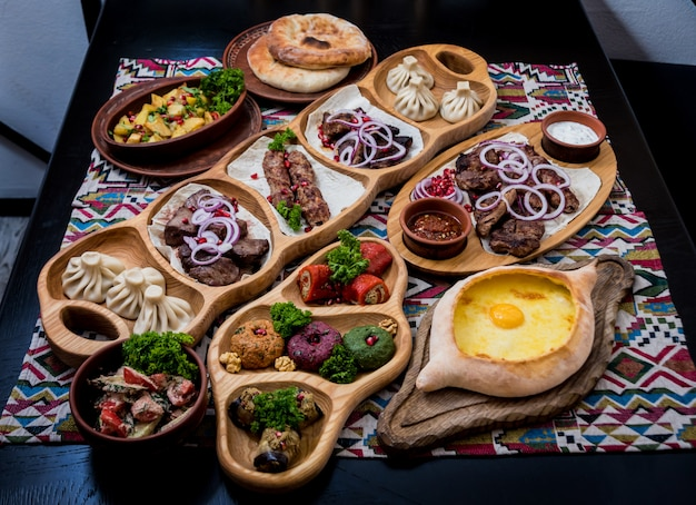 Georgian cuisine food set. georgian restaurant. .