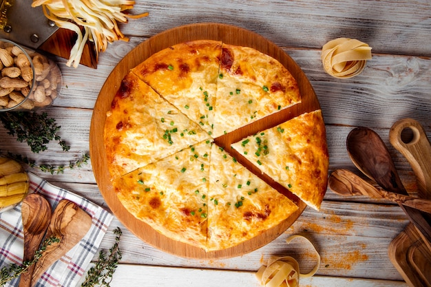 Georgian cuisine slised megrelian khachapuri bread