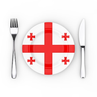 Грузинская еда или концепция кухни. вилка, нож и тарелка с флагом грузии на белом фоне. 3d рендеринг