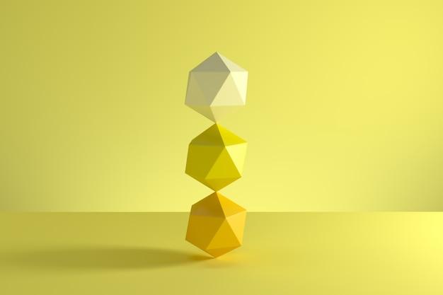 黄色の背景に分離された黄色の単調なgeosphereのスタック。最小限のコンセプトのアイデア。 3dレンダリング