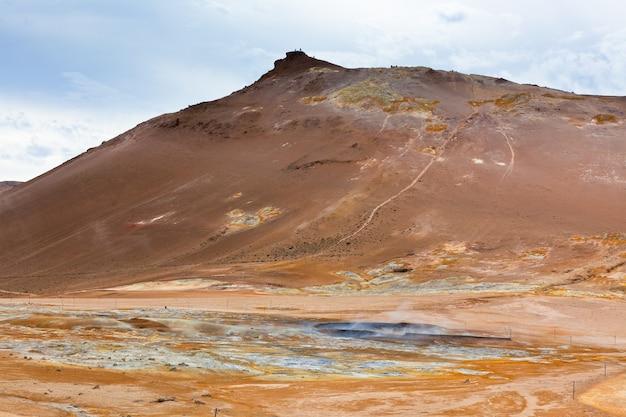 지열 지역 흐베리르, 아이슬란드. 가로 샷