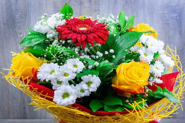 Gerbera chrysanthemum and rose
