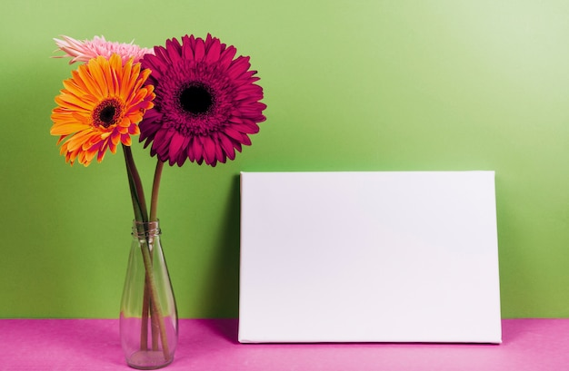 Gerbera flowers in vase near the blank card on pink desk against green wall