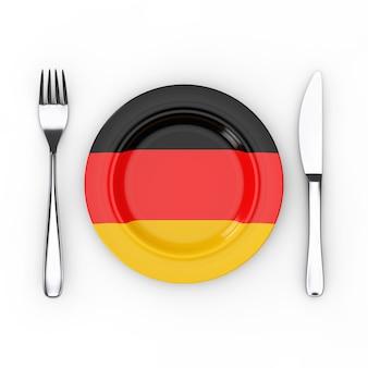 ドイツ料理または料理のコンセプト。白地にドイツ国旗のフォーク、ナイフ、プレート。 3dレンダリング