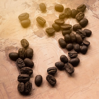 German map with coffee beans
