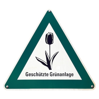 Немецкий знак, изолированные на белом. охраняемая зеленая территория