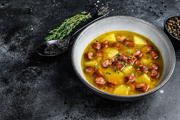 German split pea soup with smoked sausages and meat