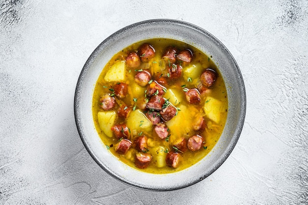 German split pea soup with smoked sausages