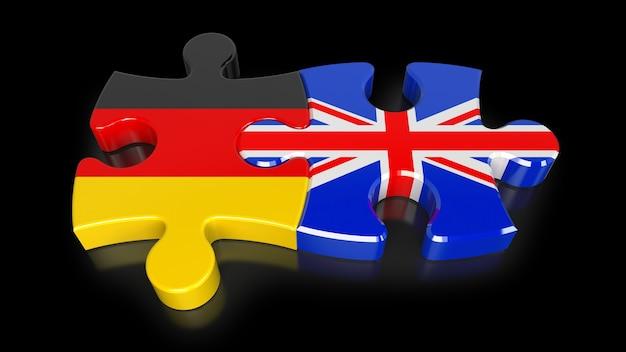 퍼즐 조각에 독일과 영국 플래그입니다. 정치적인 관계 개념입니다. 3d 렌더링