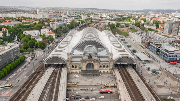 독일, 드레스덴, 2019년 5월 - 드레스덴 중앙역의 조감도