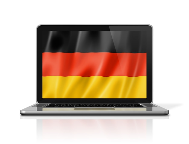 Germany flag on laptop screen isolated on white. 3d illustration render.