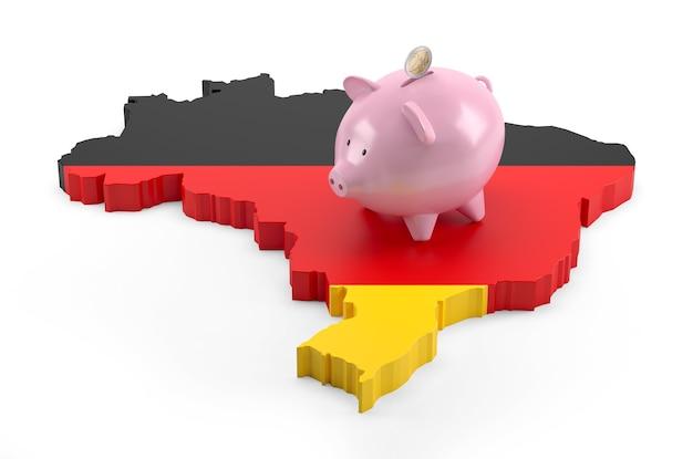 돼지 저금통에 독일 국기 지도입니다. 3d 그림