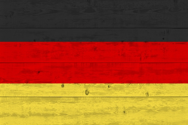 Germany flag painted on old wood plank