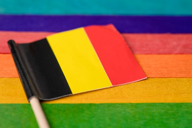 Germany flag on rainbow flag.