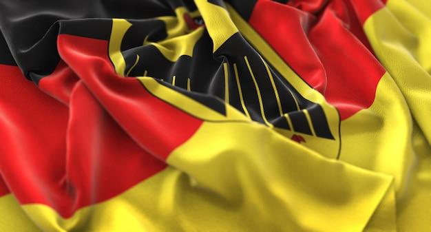 Bandiera della germania increspato splendidamente ondeggiando macro close-up shot