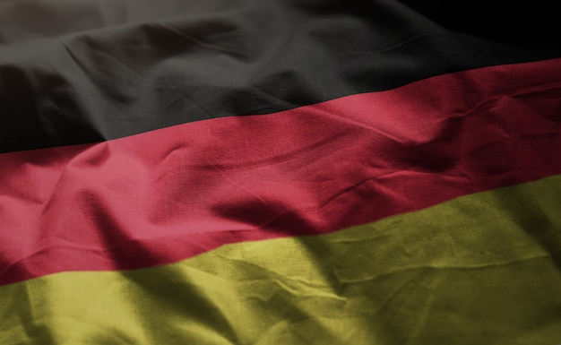 Germany flag rumpled close up