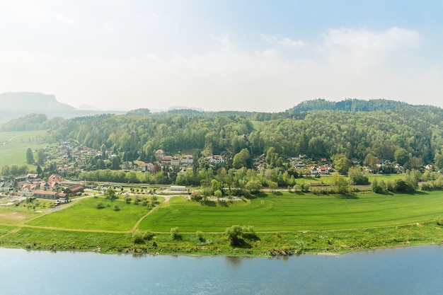 Germany, provincial town on elbe river