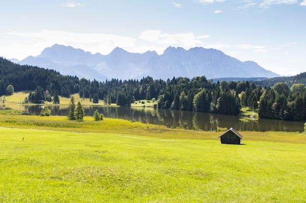 Geroldsee lake with the karwendel mountains