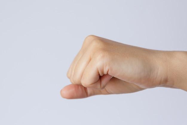 제스처와 서명 손 주먹 흰색 배경에