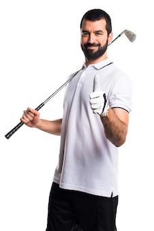 Жест golfer железо хороший положительный