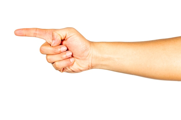 The gesture of the hand pointing forward.