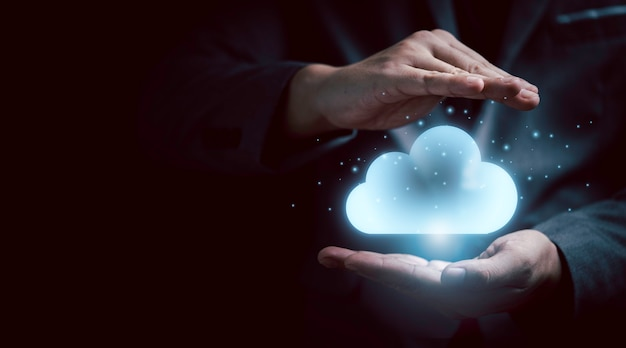 Gesture protect virtual artificial intelligence with cloud computing technology transformation and internet of thing. cloud technology management big data include business strategy , customer service.