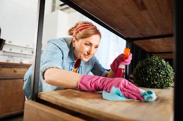 整頓する。彼女のスタイリッシュなアパートのすべての表面を掃除する結ばれた髪の美しい成熟した女性の笑顔