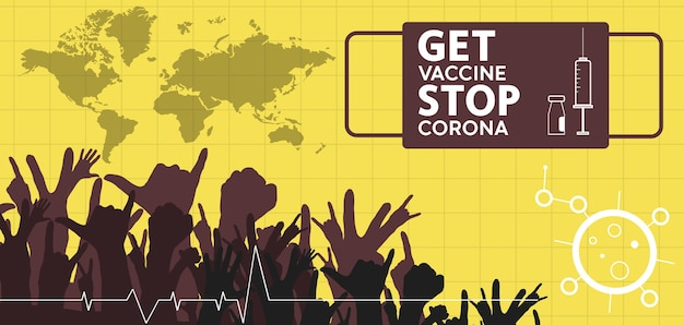 Getting vaccinated stops corona flat style concept of vaccination injection illustration