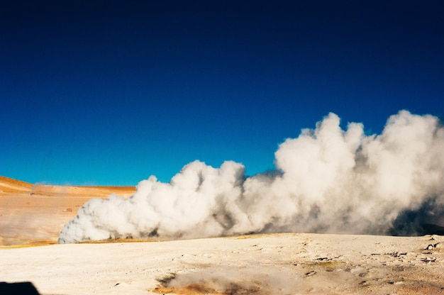Geyser sol de manana in eduardo avaroa national reserve  altiplano, bolivia, south america