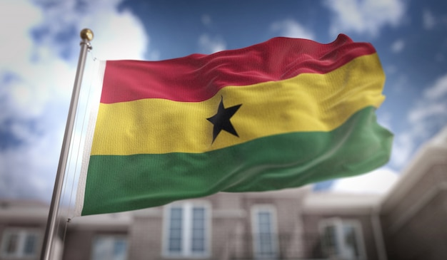 Ghana flag 3d rendering on blue sky building background