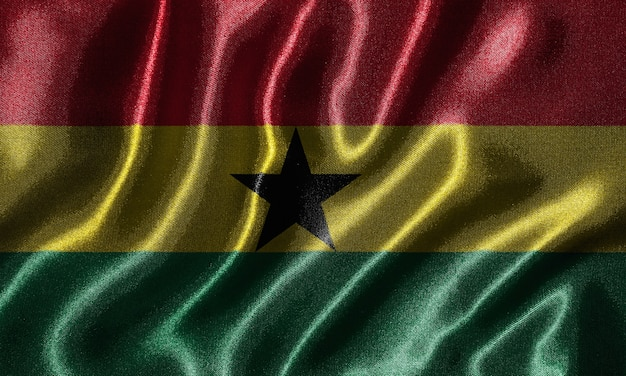 Ghana flag - fabric flag of ghana country, background of waving flag by textile.